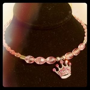 Girls Pink Rhinestone Princess Necklace